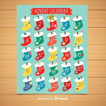 Calendario di avvento calzini colorati