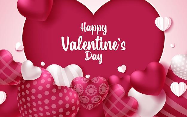 핑크 하트와 다채로운 부드럽고 부드러운 발렌타인 인사말 카드