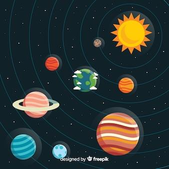 평면 디자인으로 다채로운 태양계 구성