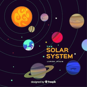 Colorful solar system composition with flat design
