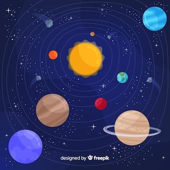 Цветная композиция солнечной системы с плоской конструкцией