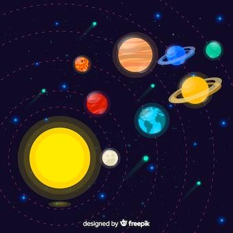 평면 디자인의 다채로운 태양계 구성표