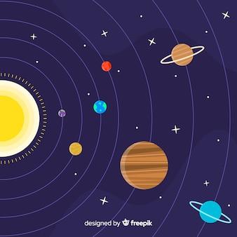 Красочная схема солнечной системы с плоской конструкцией