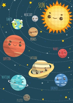 Colorful solar system