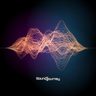 カラフルな音や信号のイラスト。作曲のデザイン要素。
