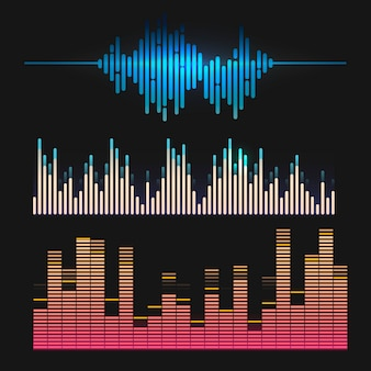 Colorful sound wave equalizer vector design set