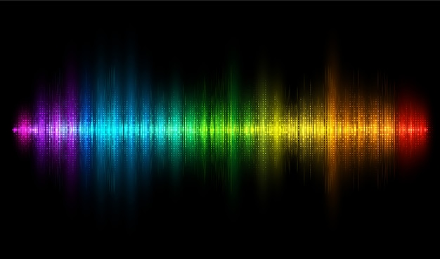Colorful sound wave. rainbow equalizer background. audio wave, frequency, melody, soundtrack eq  illustration.
