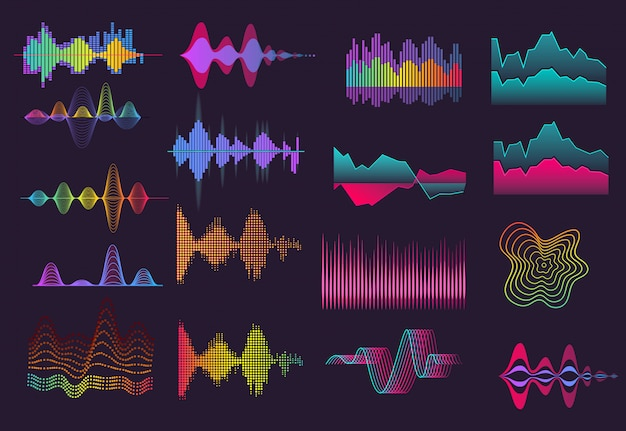 Colorful sound wave set
