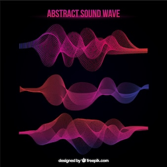 Colorful sound waves collection