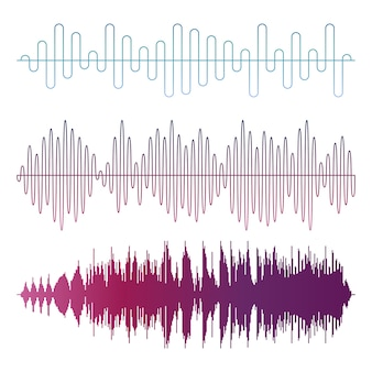 Colorful sound waves vector isolated