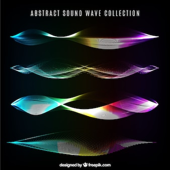 Colorful sound waves with abstract designs