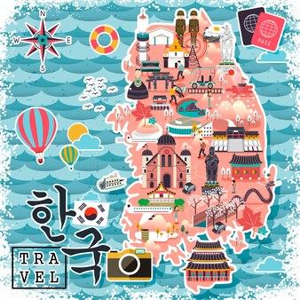 다채로운 한국 여행지도 - 왼쪽 하단의 한국어 단어로 된 한국