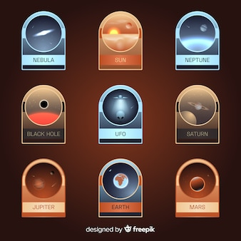 Colorful space badge collection with flat design