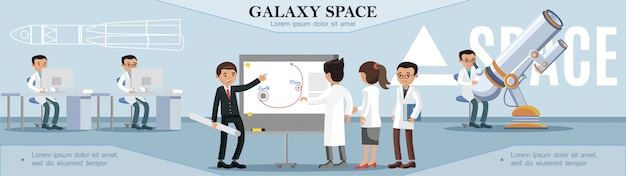 フラットスタイルの展望台で働いている科学者とのカラフルな宇宙探査テンプレート