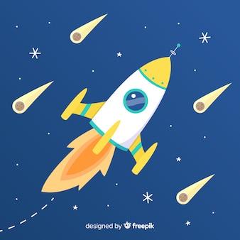 Красочная космическая ракетная композиция с плоской конструкцией