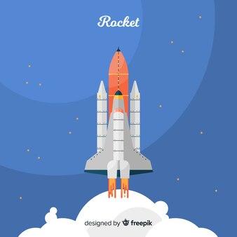 평면 디자인으로 다채로운 우주 로켓 구성