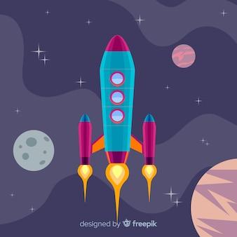 Composizione di razzo spaziale colorato con design piatto
