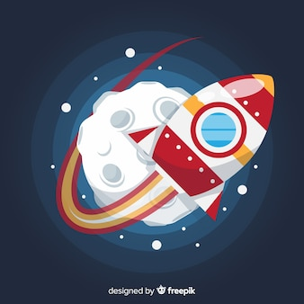 Colorful space rocket composition with flat design