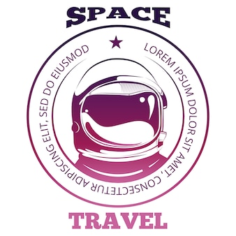 Colorful space travel label design