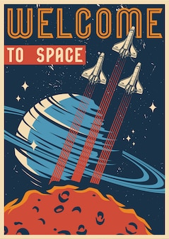 Colorful space vintage template