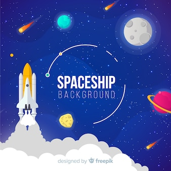 Colorful spaceship background with flat deisgn