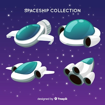 Colorful spaceship collection with flat design
