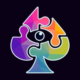 사이클롭스 눈을 가진 다채로운 스페이드 카드 놀이