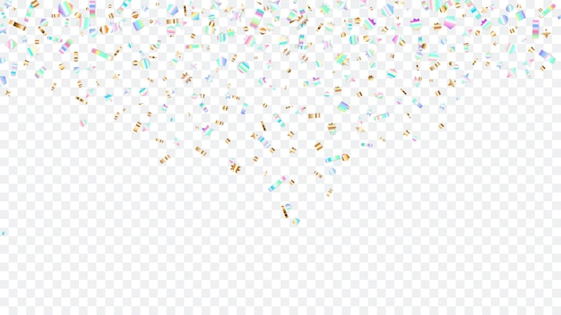 Colorful sparkles that fall from above, on transparent background