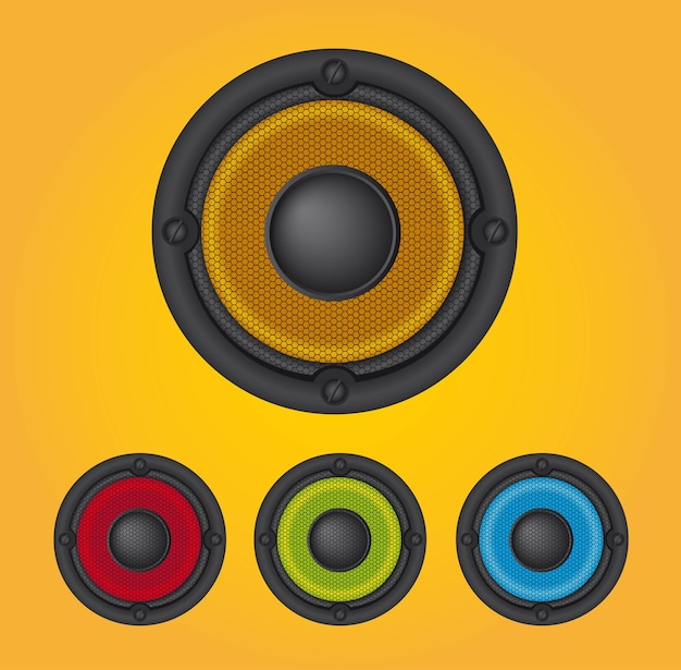 Colorful speakers over yellow background vector