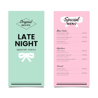 Colorful special restaurant menu template