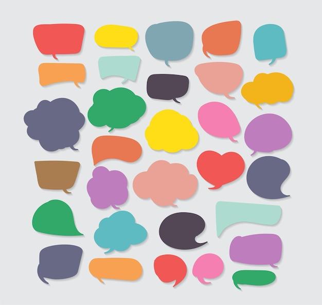 Красочные речи пузырь вырезать бумагу шаблон дизайна векторные иллюстрации для вашей бизнес-презентации