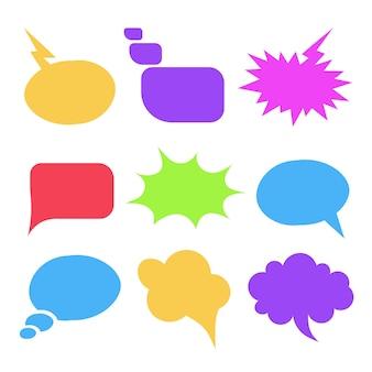 意見対話シンボルを表現するカラフルな吹き出しイラスト