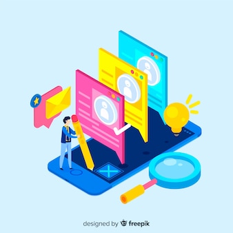 Colorful speech bubbles isometric hiring illustration