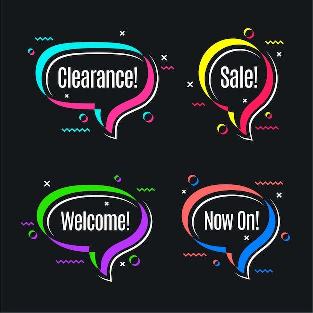 Красочные пузыри речи, формы рекламного баннера.