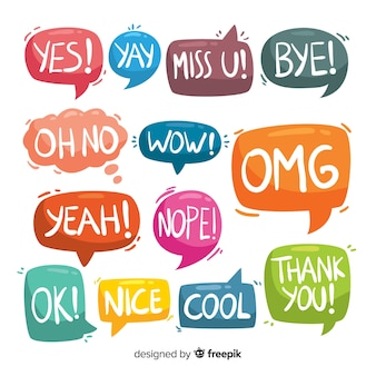 Colorful speech bubbles with different expressions set