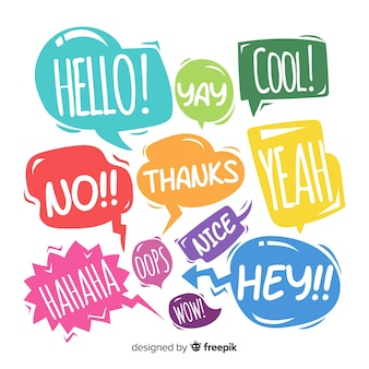 Colorful speech bubbles with numerous expressions