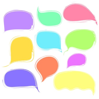 Colorful speech or thought bubbles set