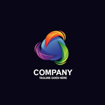 Colorful sphere with circular shape logo design