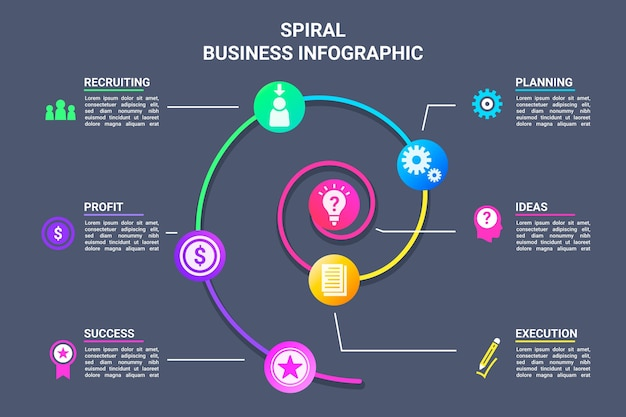 Colorful spiral infographic