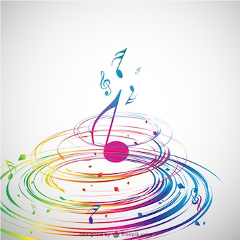 Colorful spiral and a music note in the middle