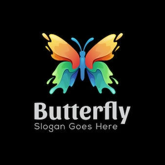 Colorful splash butterfly logo design