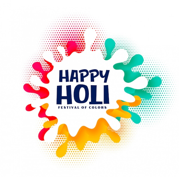 Colorful splash happy holi festival card