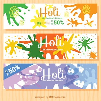 Colorful splashes discount holi banners