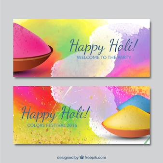 Colorful splashes holi banners