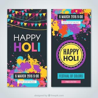 Colorful splashes holi flyers