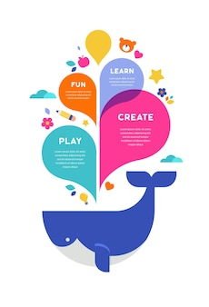Colorful splashes and whale illustration template
