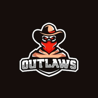 Colorful sports mascot cowboy skull logo bandana hat