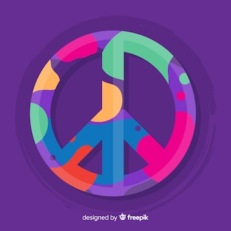 Colorful spots peace sign background