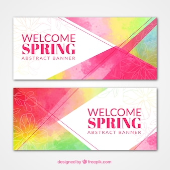 Colorful spring abstract watercolor banners