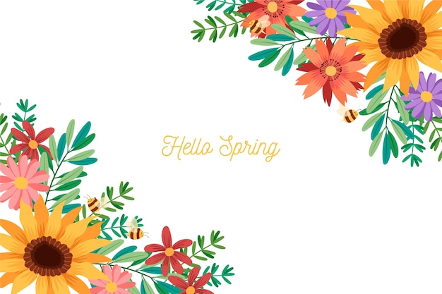 Colorful spring background with greeting